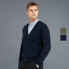 男式精致缩绒纯羊毛开衫
