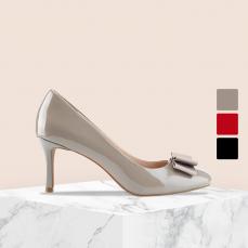 女式漆皮圆头高跟鞋