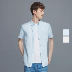 棉麻系列   男式全麻舒适短袖衬衫