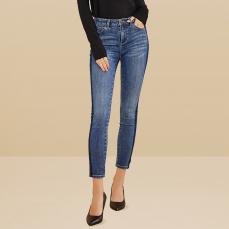 女式侧条纹中腰牛仔裤