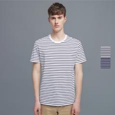 男式精梳棉条纹短袖T恤衫