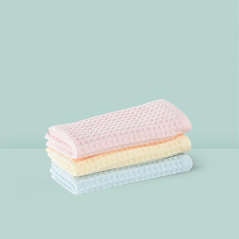 蜂巢华夫格纱布双面方巾 3条装